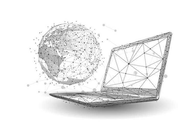 点线构成的多边形三角形组成的地球和笔记本电脑图片免抠矢量素材