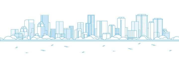 蓝色线条风格简约城市建筑天际线图片免抠矢量图素材