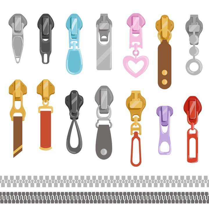 14种不同样式的拉链和链牙花纹图片免抠矢量素材