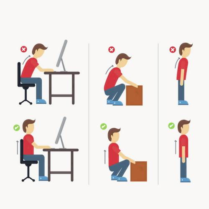 坐着用电脑蹲下搬东西正确和错误坐姿站姿图片免抠素材