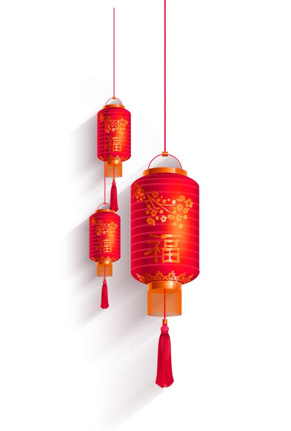 漂亮的圆筒状红色福字大红灯笼图片免抠png素材