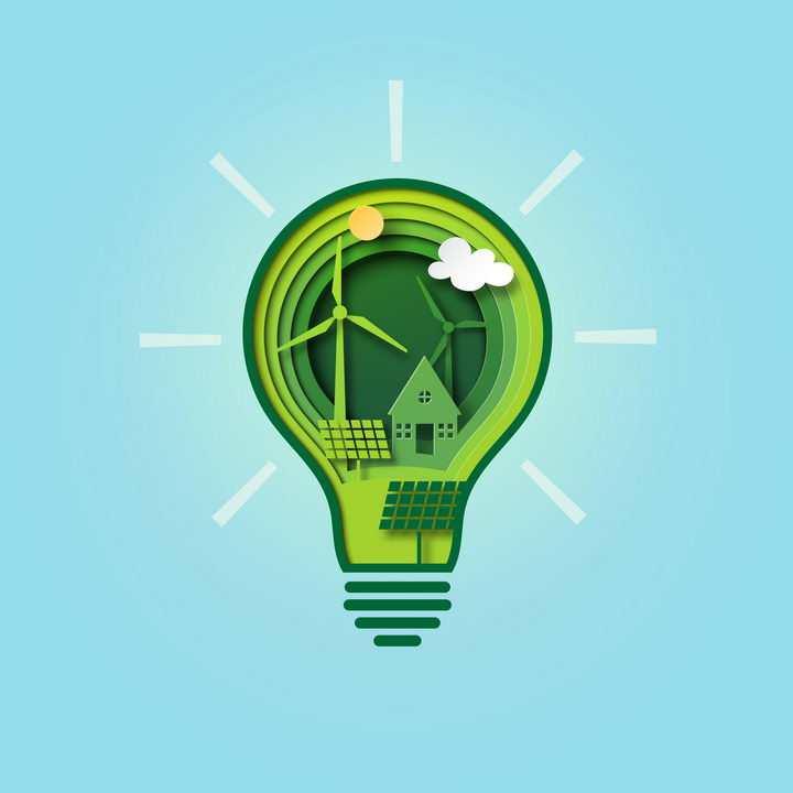 创意剪纸叠加风格绿色灯泡中的风力太阳能发电绿色能源图片免抠矢量图素材