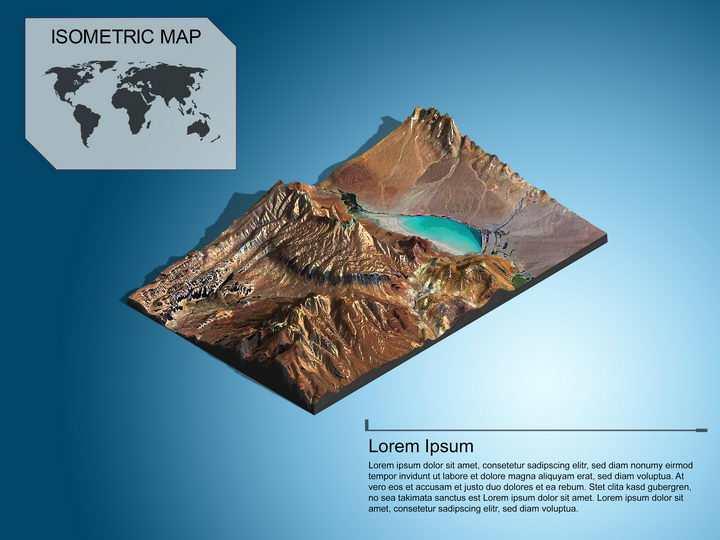 地理地质干旱地区的内流河内流湖泊地形地貌PS 3D模型图片模板