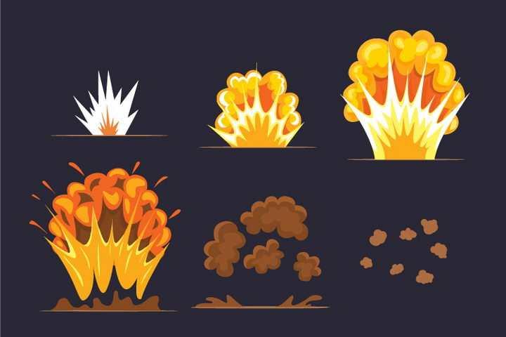 6款卡通插画风格爆炸效果过程图片免抠素材