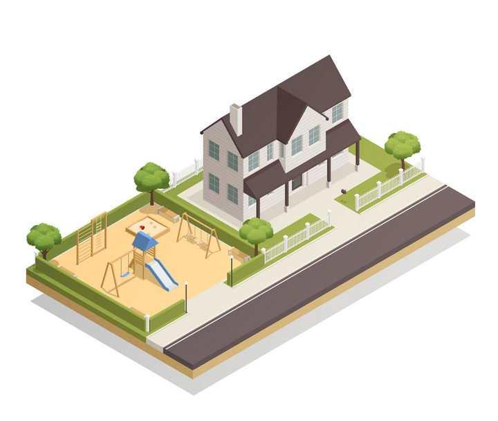 2.5D风格家里有游乐场的别墅城市建筑图片免抠素材
