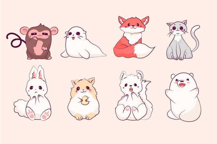 8款卡通猴子海豹狐狸猫咪兔子小动物图片免抠矢量素材