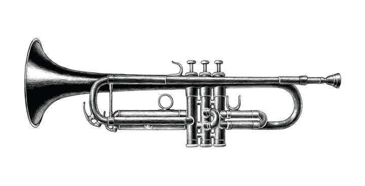 手绘黑色素描风格西方乐器铜管乐器图片免抠矢量图素材