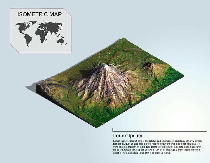 地理地质平原上的高山地形地貌PS 3D模型图片模板