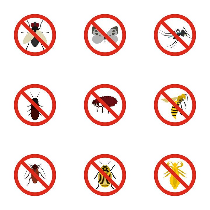 9款苍蝇蛾子蚊子蟑螂等杀虫消灭害虫标志图标图片免抠矢量素材