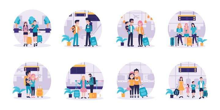 8款出去旅游的情侣一家人图片免抠矢量素材