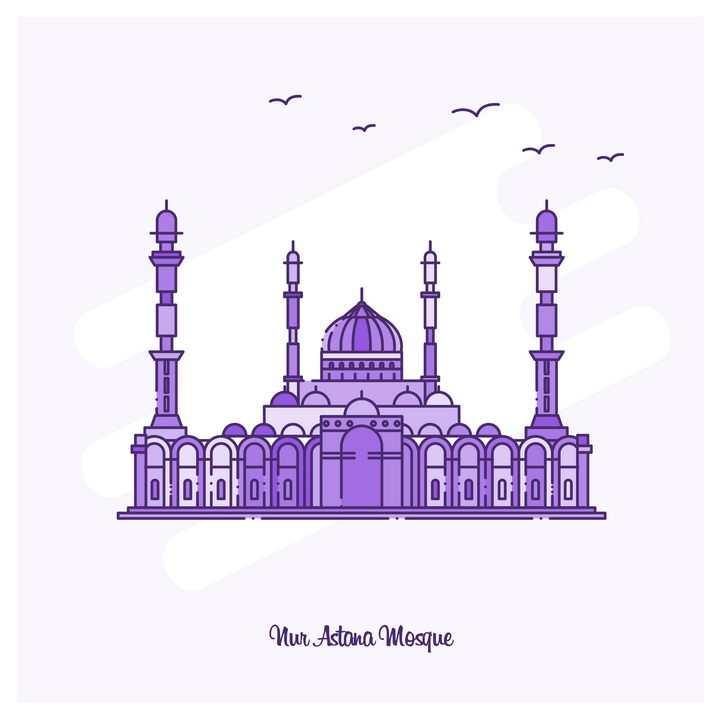紫色断点线条风格阿联酋阿布扎比大清真寺旅游景点图片免抠矢量图素材