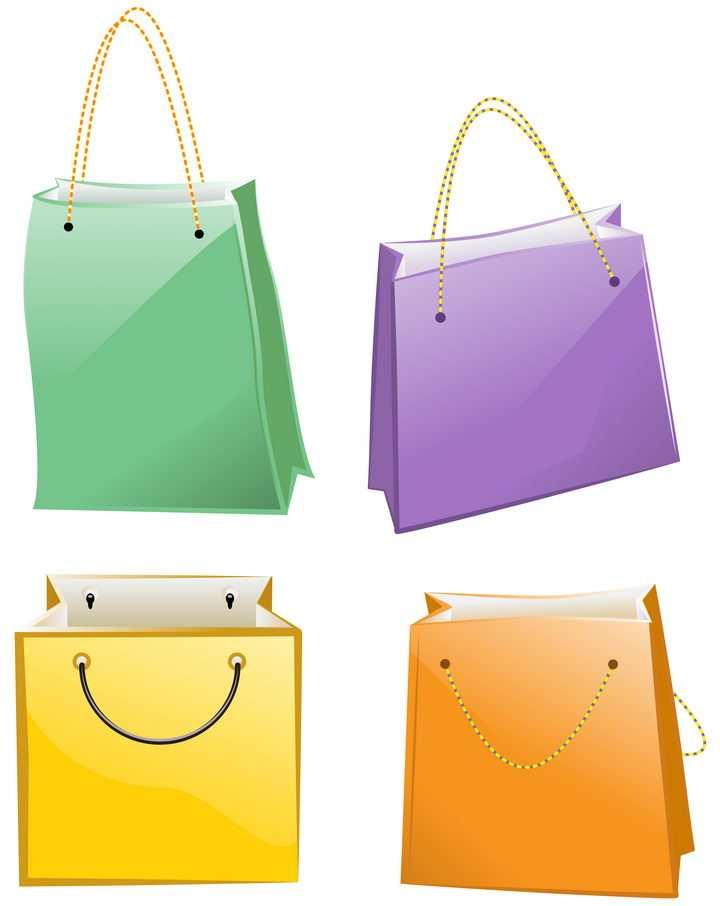 4种颜色的购物袋手提袋图片免抠矢量素材