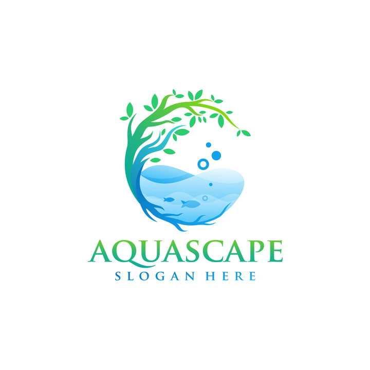 创意绿色的大树和蓝色海水logo设计方案免抠矢量图素材