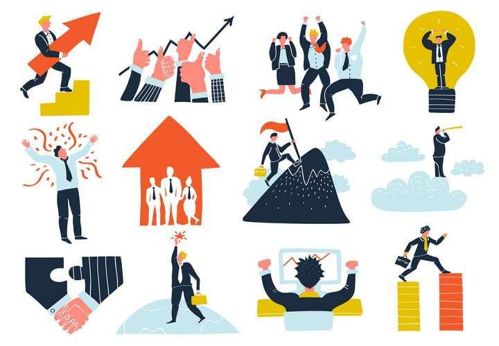 12款插画商务团队团结合作配图图片免抠素材