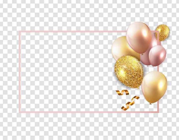 金色气球装饰的长方形文本框图片免抠矢量图素材