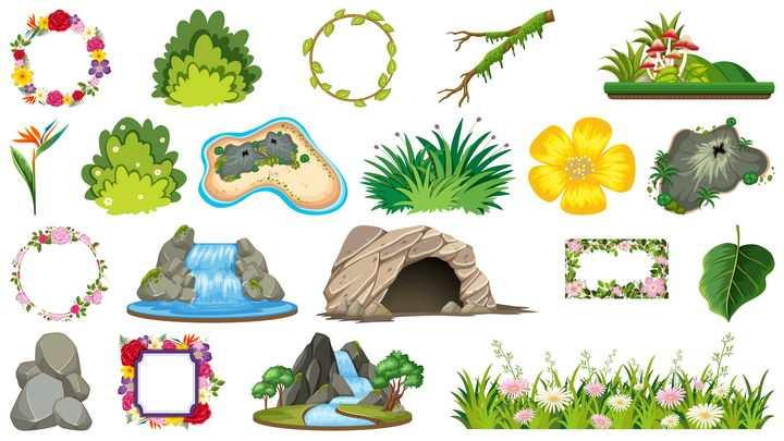 花环树丛树枝瀑布石头花丛等自然景观图片免抠矢量素材