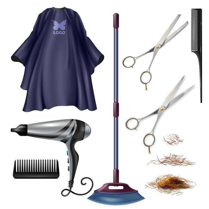 逼真的理发店围布电吹风梳子剪刀和掉落的头发图片免抠矢量素材