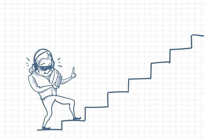圆珠笔画涂鸦风格拿着手机的低头族正走在台阶上职场人际交往配图图片免抠矢量素材