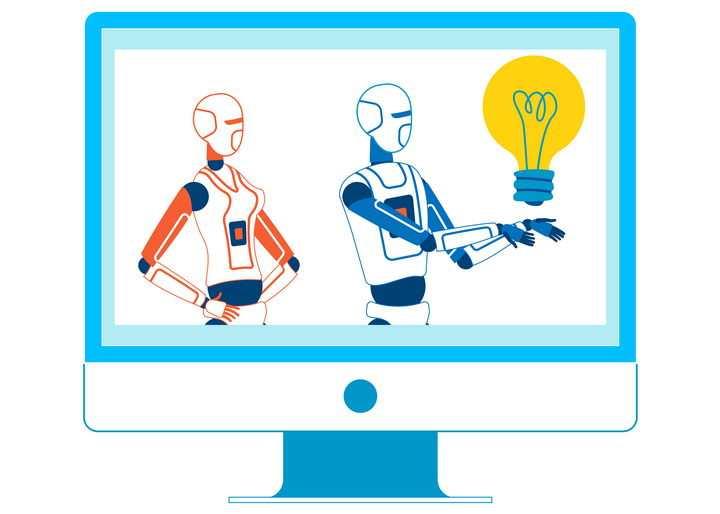 扁平化风格电脑显示器上展示的人工智能技术配图图片免抠素材