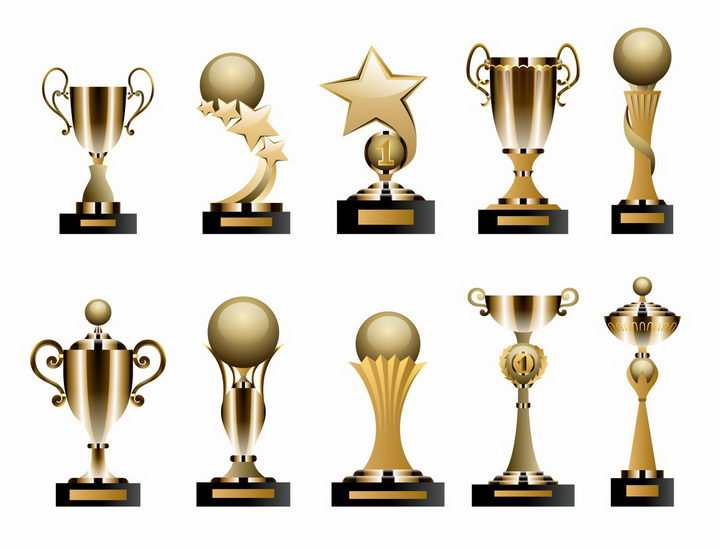 10款金属镀金材质的比赛奖杯金杯图片png免抠素材
