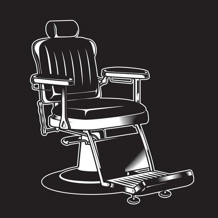 黑白画风格理发店美发店椅子美发椅转椅图片免抠矢量素材