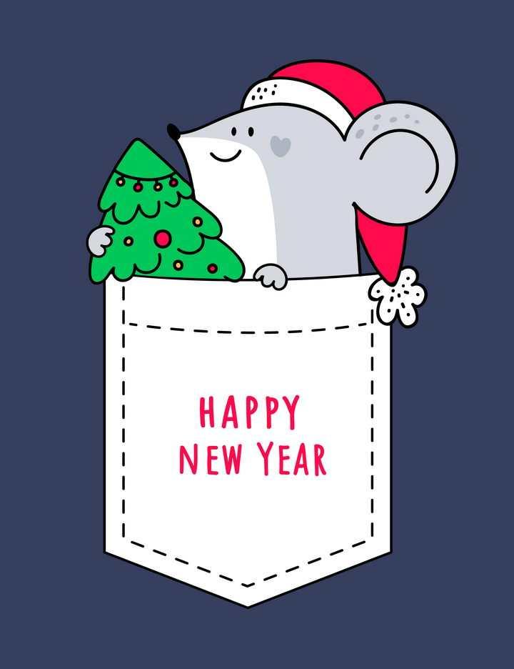 可爱手绘风格圣诞节卡通老鼠图片免抠矢量图素材