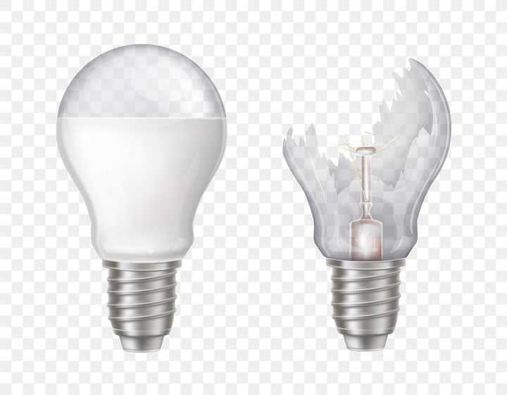 破碎的白炽灯电灯泡图片免抠矢量素材