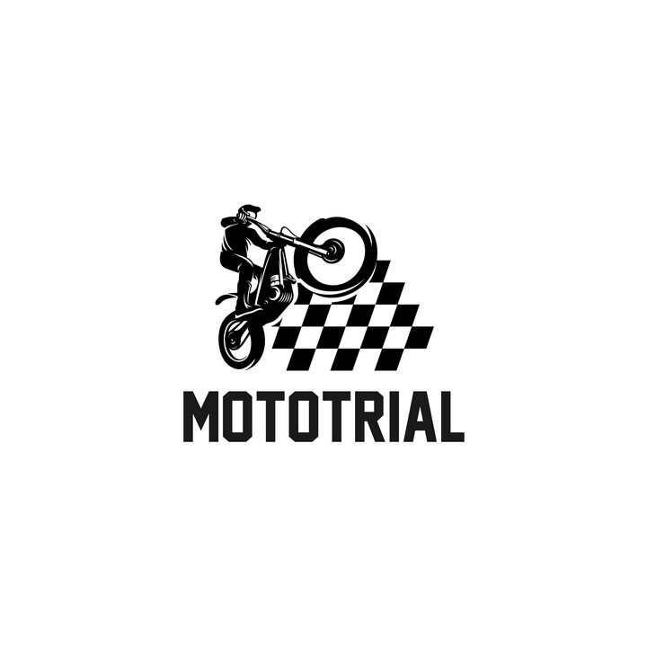 黑色摩托车选手logo设计方案图片免抠素材