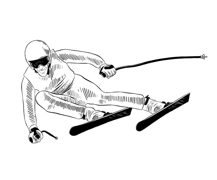 黑色手绘线条风格正在滑雪的运动员图片免抠矢量素材 人物素材-第1张
