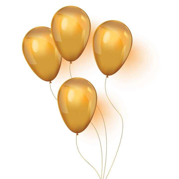 4个逼真的橙色气球图片免抠矢量图素材
