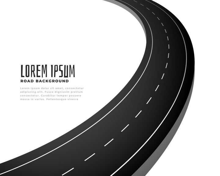通向远方的C型公路马路图案图片免抠矢量素材