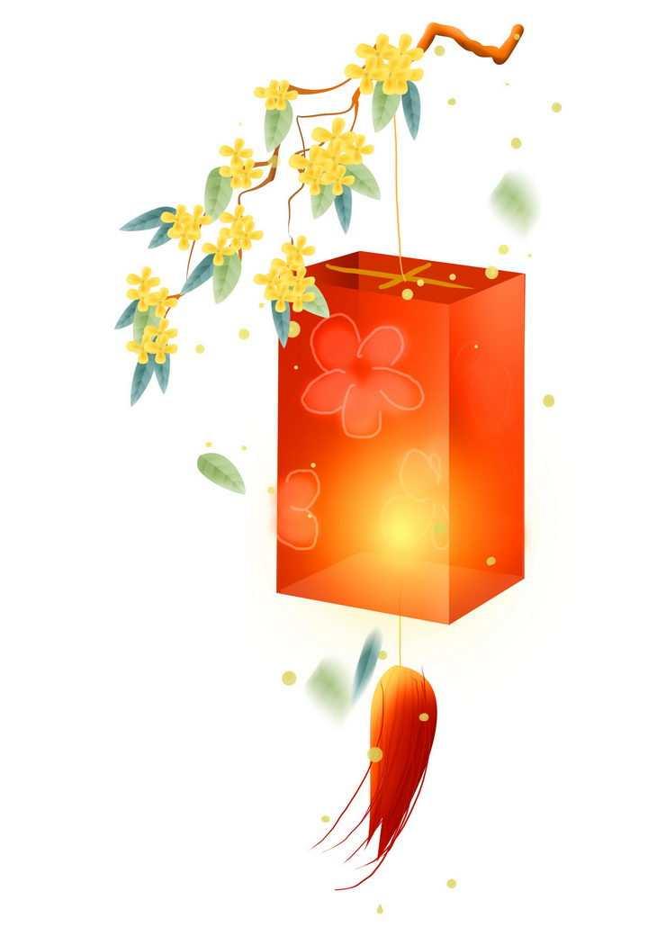 中秋节挂在桂花枝头上的大红灯笼图片免抠png素材