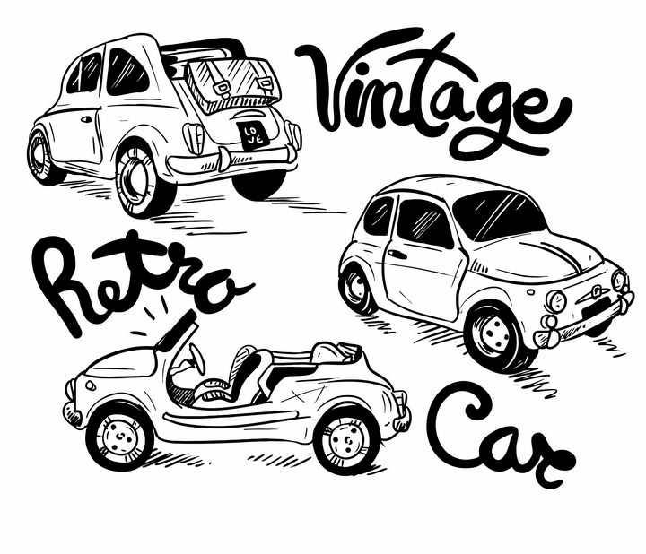 黑色涂鸦风格旅行小汽车复古汽车免抠矢量图素材