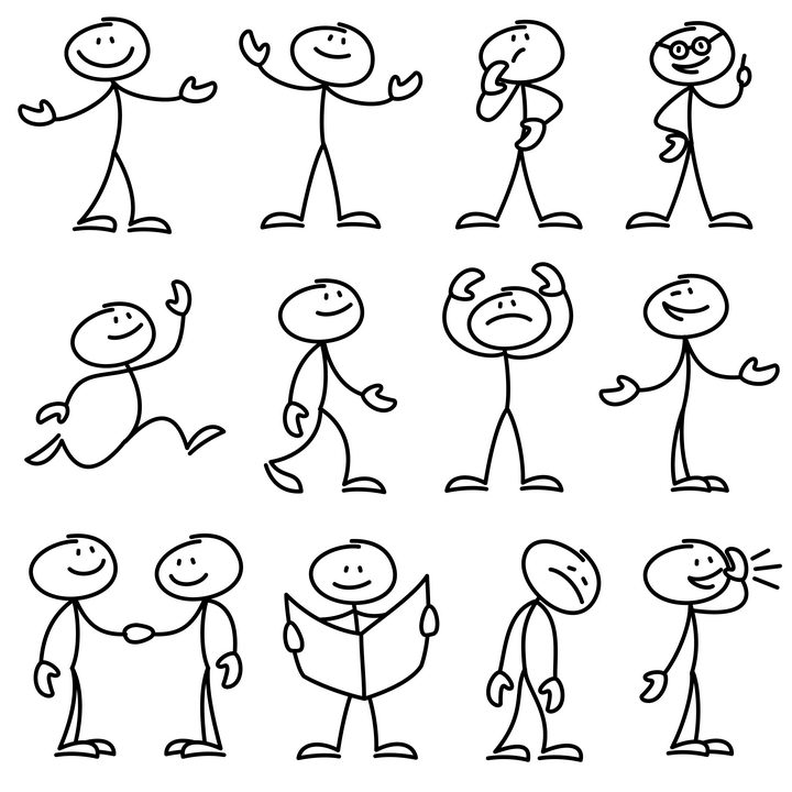 12款各种表情的手绘线条卡通小人儿童简笔画图片免抠矢量素材 简笔画-第1张