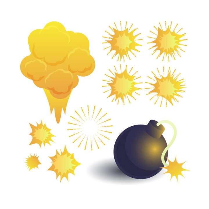 黑色炸弹和浅黄色的漫画爆炸效果图片免抠素材