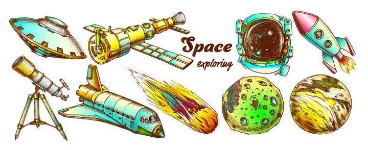 各种手绘插画风格飞碟人造卫星天文望远镜航天飞机星球火箭等宇宙探索科普图片免抠矢量素材