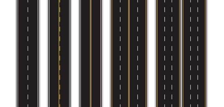 各种公路交通标线的高速公路图片免抠矢量图