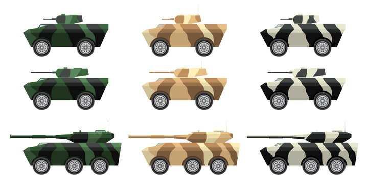 各种迷彩涂装的轮式战车武器装备图片免抠素材