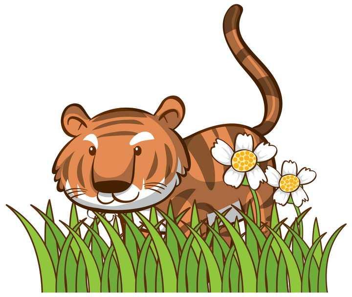 草丛花丛中的卡通老虎图片免抠矢量素材