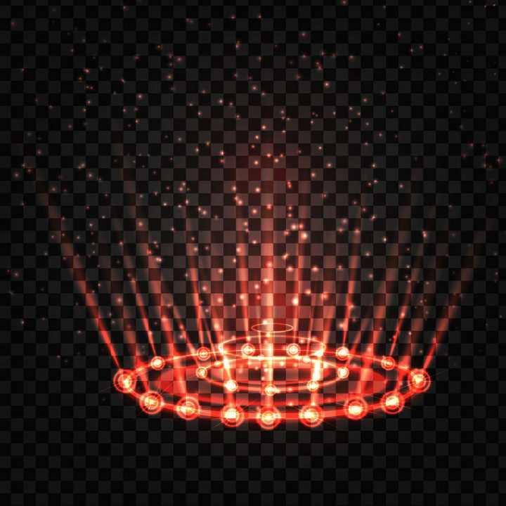 红色点阵风格发光光线效果图片免抠矢量图素材