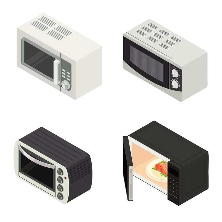 4款2.5D风格的微波炉厨房家用电器图片免抠矢量素材