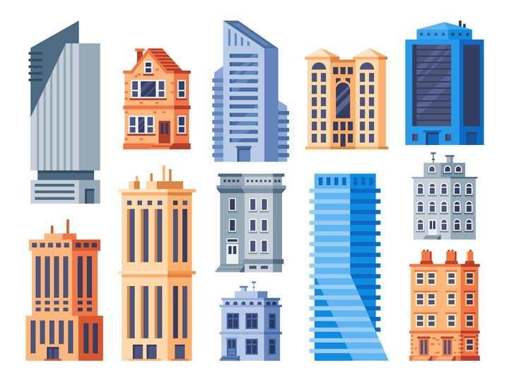各种扁平化风格城市高楼大厦图片免抠矢量图
