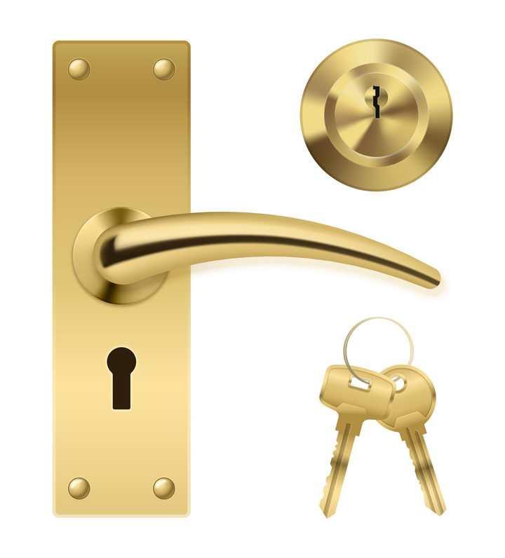 金色的门把手大门钥匙孔和钥匙图片免抠矢量素材