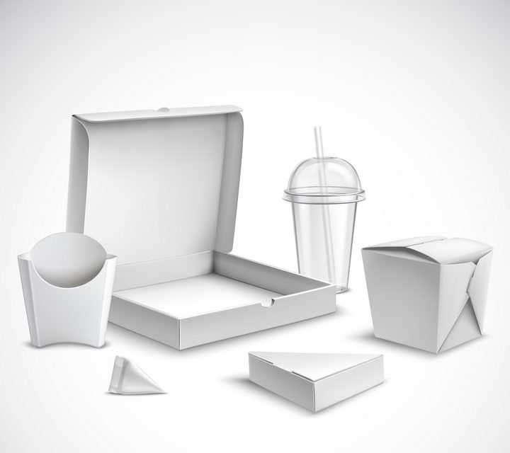 打开的披萨盒子薯条杯和一次性塑料杯的空白包装图片免抠矢量素材