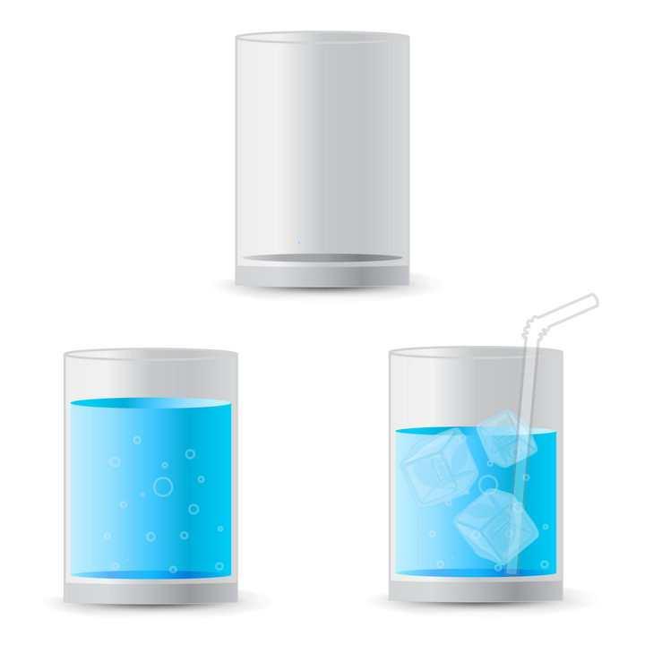 扁平化风格玻璃杯中蓝色水图片免抠矢量素材