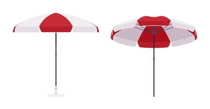 红白相间的遮阳伞图片免抠矢量素材