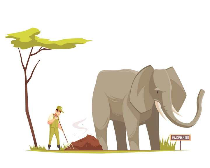正在为大象铲屎的卡通动物园管理员图片免抠矢量素材