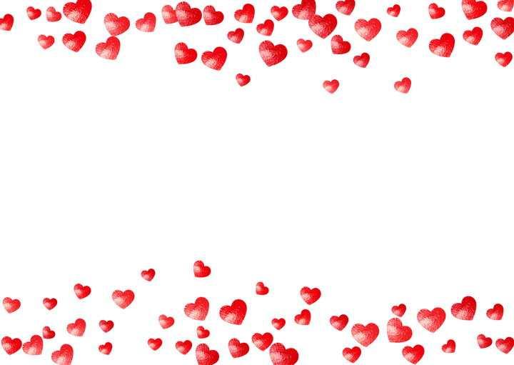 手绘风格红心组成的边框图片免抠矢量素材