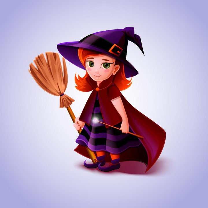 卡通风格拿着扫帚的魔法师图片免抠矢量素材