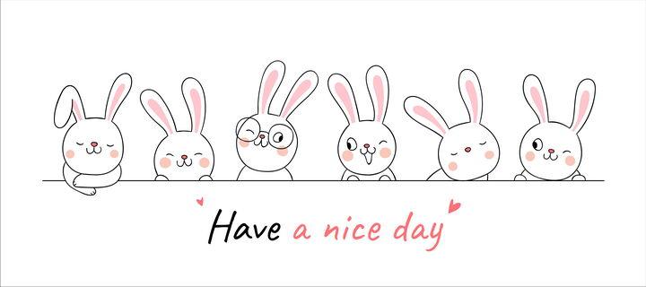 一排可爱的卡通小兔子装饰图片免抠矢量素材